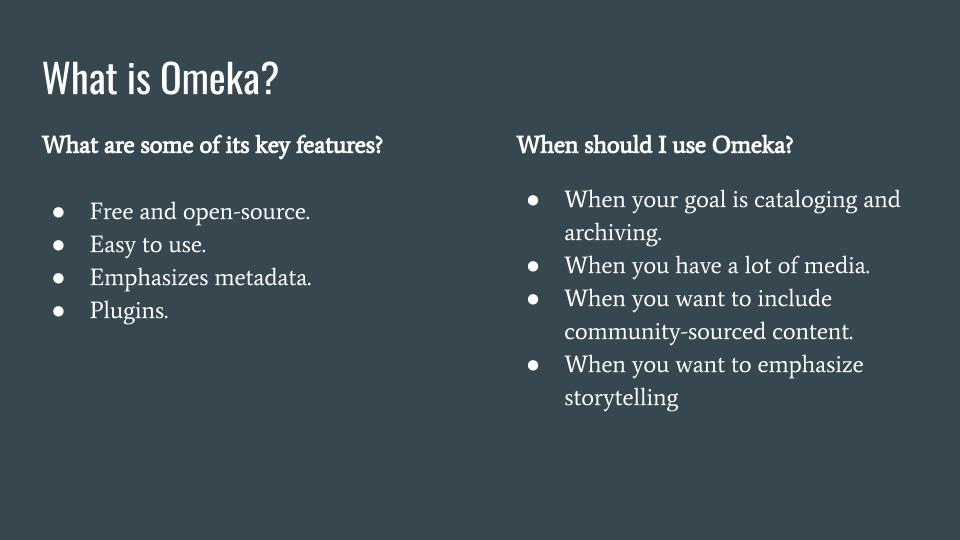 Key Features of Omeka