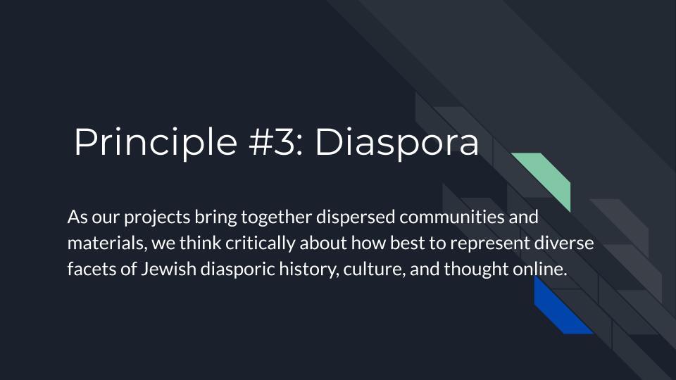 Principle 3: Diaspora